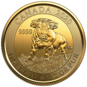 Gold Canadian Bull 1/4 Ounce Coin