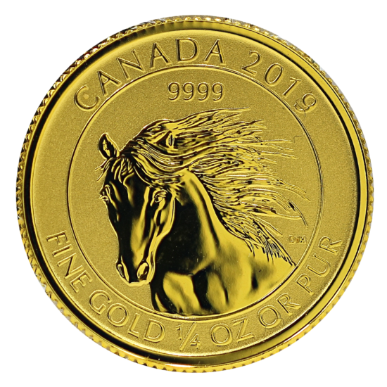 Gold Canadian Wild Horse 1/4 Ounce Coin