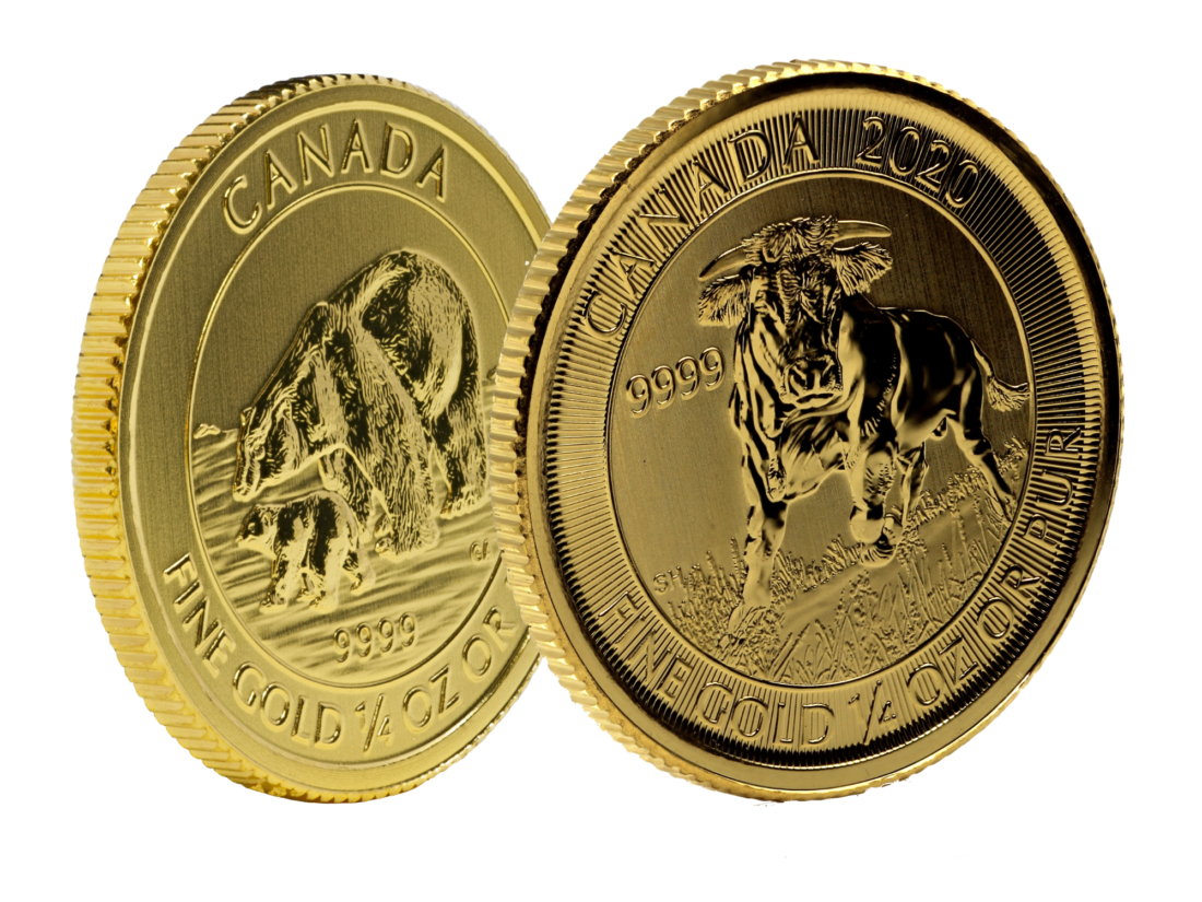 Gold Canadian Majestic Bull and Arctic Bear Coin Set