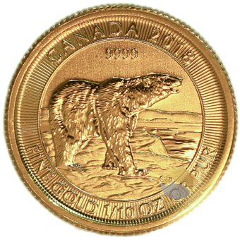 Gold Canadian Polar Bear Coin 1/10th Ounce